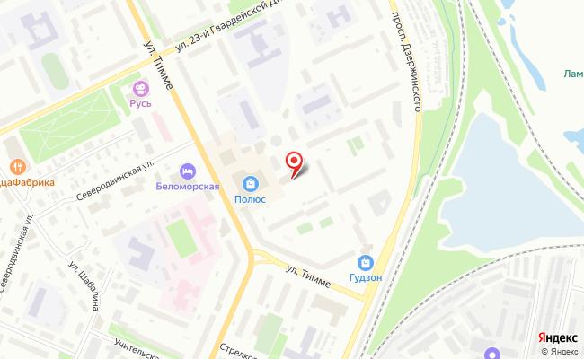 Карта расположения пункта доставки Westfalika в городе Архангельск