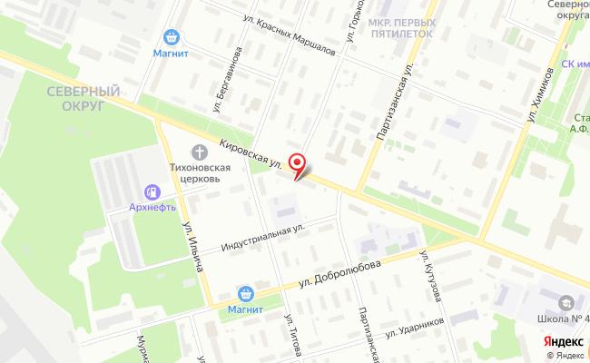 Карта расположения пункта доставки Билайн в городе Архангельск