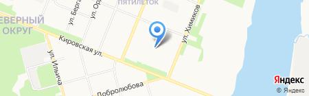 Автостоянка на Партизанской на карте Архангельска