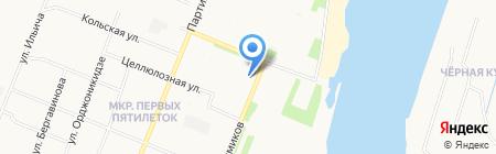 Парикмахерская на ул. Химиков на карте Архангельска
