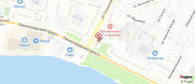 Карта расположения пункта доставки Архангельск, ул. Галушина, д.2 в городе Архангельск