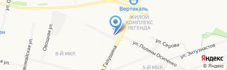 Автостоянка на ул. Прокопия Галушина на карте Архангельска