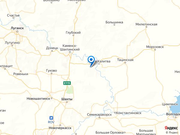 поселок Бондарный на карте