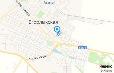Местоположение на карте пункта техосмотра по адресу Ростовская обл, ст-ца Егорлыкская, пер Гагарина, зд 4 стр 9