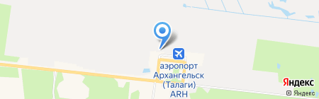 Аэропорт Архангельск на карте Архангельска