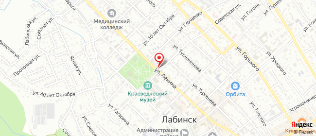 Карта расположения пункта доставки Лабинск Советская в городе Лабинск