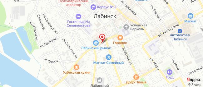 Карта расположения пункта доставки Пункт выдачи в городе Лабинск
