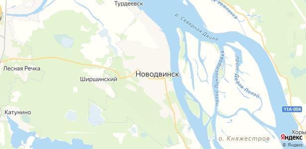 Новодвинск на карте