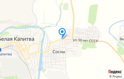 Местоположение на карте пункта техосмотра по адресу Ростовская обл, Белокалитвинский р-н, п Сосны, ул Центральная