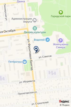 САУНА ОХОТА на карте Новодвинска