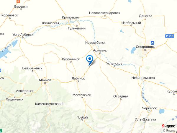 станица Новоалексеевская на карте