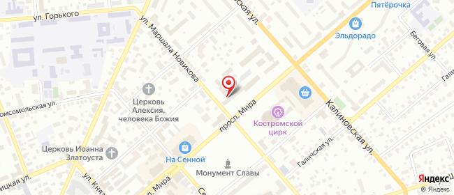 Карта расположения пункта доставки Кострома Мира в городе Кострома
