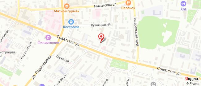 Карта расположения пункта доставки Кострома Советская в городе Кострома