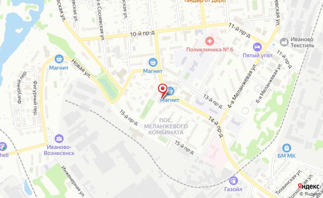 Карта расположения пункта доставки Билайн в городе Иваново