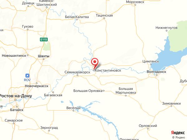 Константиновск на карте