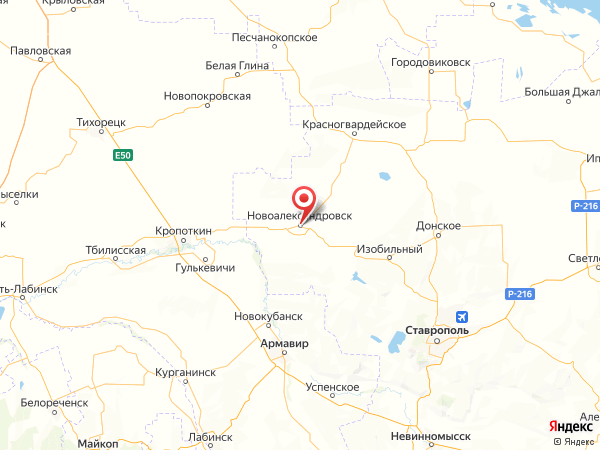 Новоалександровск на карте