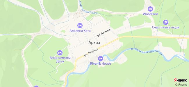 Гостиницы Архыза - объекты на карте