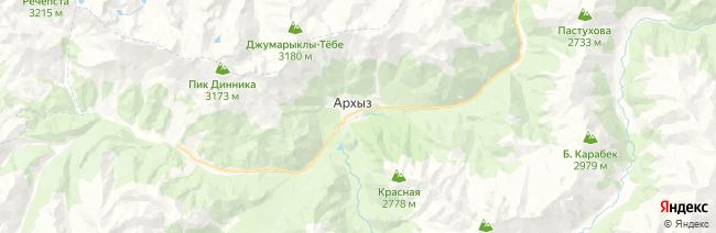 Архыз на карте