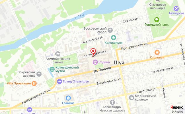 Карта расположения пункта доставки Шуя Малахия Белова в городе Шуя