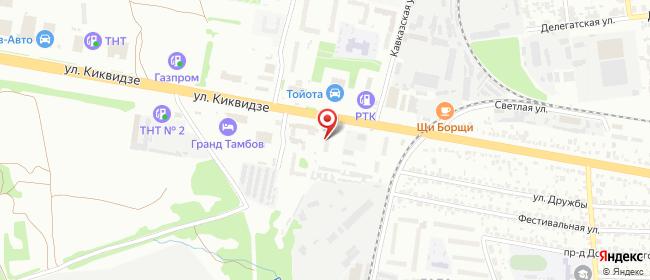Карта расположения пункта доставки Тамбов Киквидзе в городе Тамбов