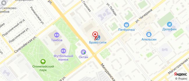 Карта расположения пункта доставки Тамбов Мичуринская в городе Тамбов