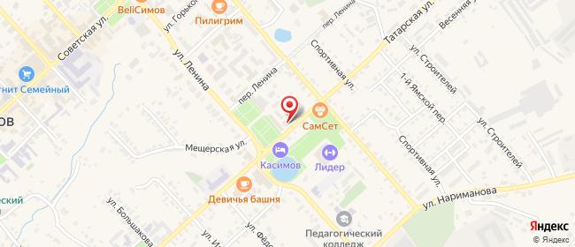 Карта расположения пункта доставки Ростелеком в городе Касимов