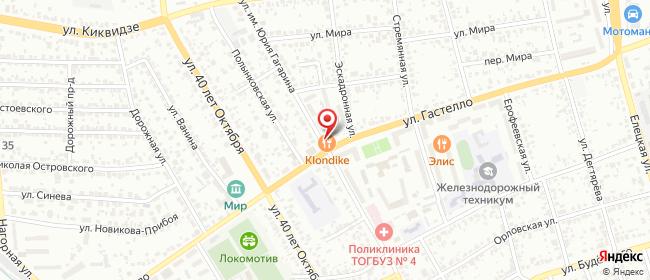 Карта расположения пункта доставки Тамбов Гастелло в городе Тамбов