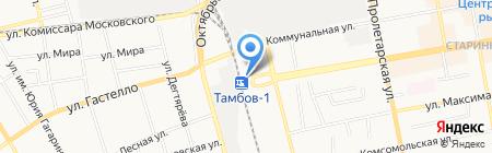 Автостоянка на Привокзальной площади на карте Тамбова