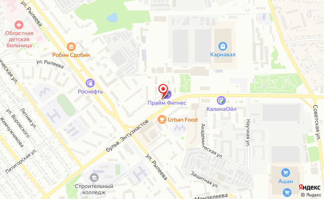 Карта расположения пункта доставки Тамбов Энтузиастов в городе Тамбов