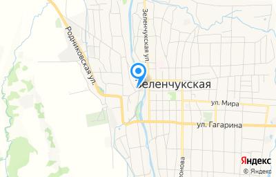 Местоположение на карте пункта техосмотра по адресу Респ Карачаево-Черкесская, ст-ца Зеленчукская, ул Ленина, д 45