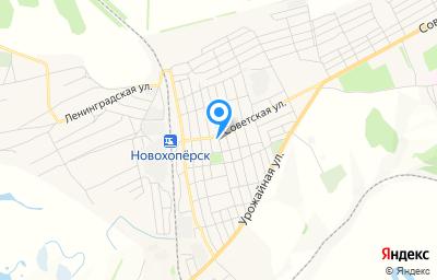 Местоположение на карте пункта техосмотра по адресу Воронежская обл, Новохоперский р-н, рп Новохопёрский, ул Железнодорожная, д 27Г