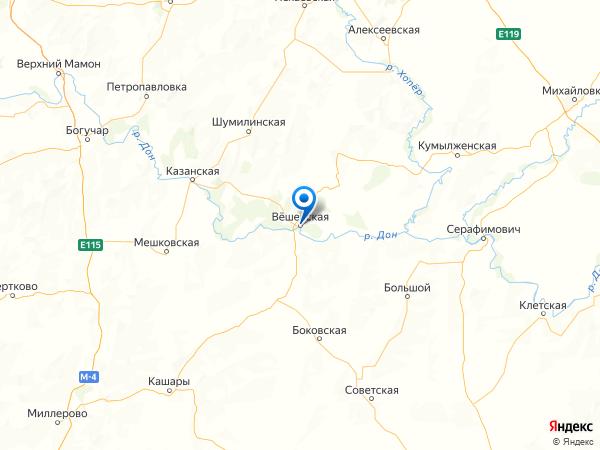 станица Вешенская на карте