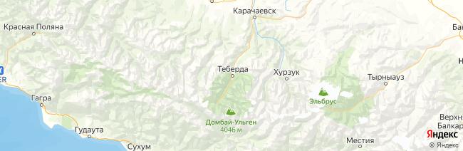 Тебердинский заповедник на карте