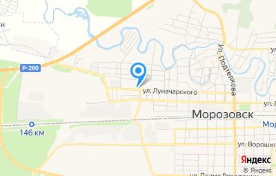 Местоположение на карте пункта техосмотра по адресу Ростовская обл, г Морозовск, ул Луначарского, д 114