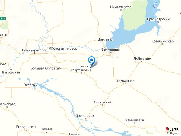 хутор Малая Мартыновка на карте