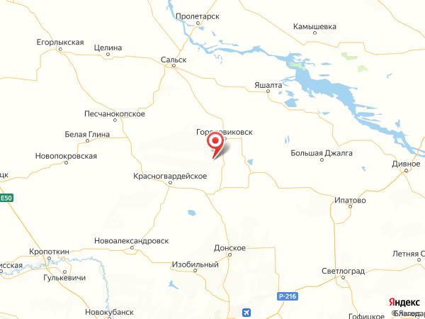 хутор Добровольный на карте