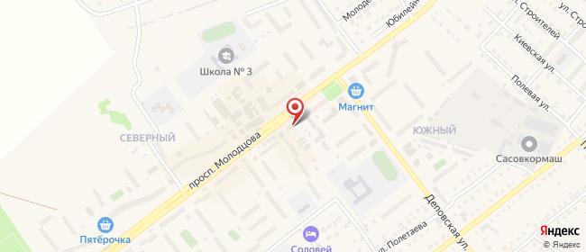 Карта расположения пункта доставки Ростелеком в городе Сасово