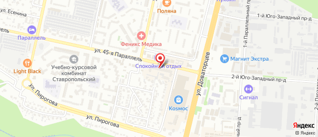 Карта расположения пункта доставки Ставрополь 45 Параллель в городе Ставрополь
