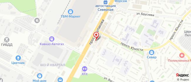 Карта расположения пункта доставки Ставрополь Кулакова в городе Ставрополь