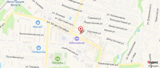 Карта расположения пункта доставки Ростелеком в городе Вичуга
