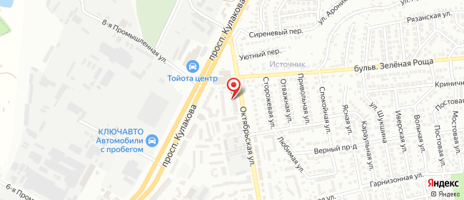 Карта расположения пункта доставки На Октябрьской в городе Ставрополь