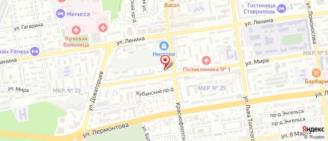 Карта расположения пункта доставки Краснофлотская в городе Ставрополь