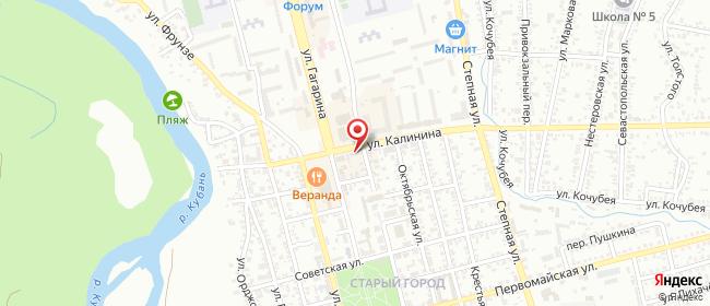 Карта расположения пункта доставки Невинномысск Калинина в городе Невинномысск