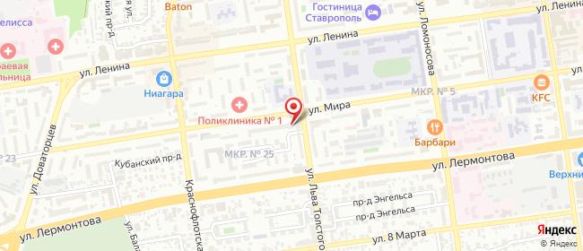 Карта расположения пункта доставки Ставрополь Мира в городе Ставрополь