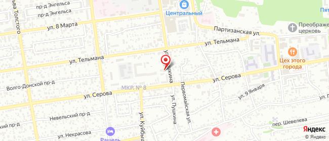 Карта расположения пункта доставки Ставрополь Пушкина в городе Ставрополь