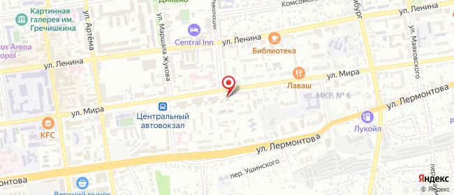 Карта расположения пункта доставки Мира в городе Ставрополь