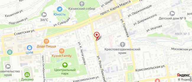 Карта расположения пункта доставки Ставрополь Дзержинского в городе Ставрополь