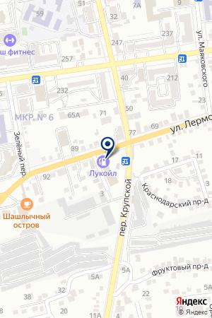 АЗС № 67 ЛУКОЙЛ-ЮГНЕФТЕПРОДУКТ на карте Лермонтова