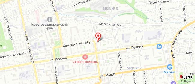Карта расположения пункта доставки Ставрополь Комсомольская в городе Ставрополь