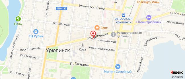 Карта расположения пункта доставки Пункт выдачи в городе Урюпинск